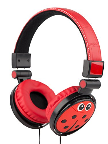 Children Headphones,WESONICS Over-Ear Headphones Stereo Wired Computer Headset with Built-in Mic Comfortable Leather Cellphones Earphones for Kids (Red-Ladybug) …