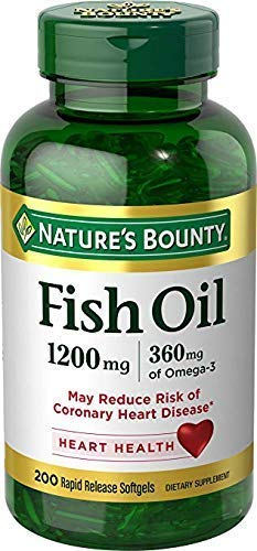 Nature's Bounty Fish Oil, 1200 mg Omega-3, 200 Rapid Release Softgels (2 Pack)