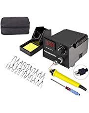 60W 110V Wood Burning Kit, Digital Display Wood Burner Tool Pyrography Machine with 2 Professional Wood Burning Pens & 20 Wire Tips Include Gift Bag (1 Socket 1 Pen)