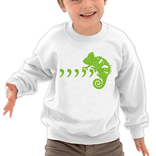 Price comparison product image Puppylol Green Cool Chameleon Kids Classic Crew-neck Pullover Hoodie White 5-6 Toddler