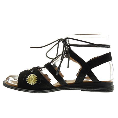 Angkorly - damen Schuhe Sandalen - Römersandalen - Offen - String Tanga - Blumen - bestickt Blockabsatz 2 CM - Schwarz