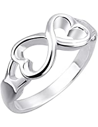 Women's Infinity Rings Silver Plated Double Love Hearts Engagement Wedding Eternity Promise Rings for Her