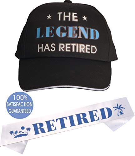 Officially Retired Sash and Hat/Baseball Cap Blue | Retirement Sash for Retired Event & Work Party | Novelty Gift for Men | Retirement Gifts for Men]()