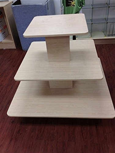 3-Tier Square Display Table Retail Store Fixture Maple Freight Knockdown NEW by Bentley's Display