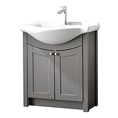 """RESSORTIR RES-40BC020 Bathroom Vanity, Grey Oak - Size: 26"""" Wide by 19"""" Deep by 37"""" Tall FAUCET AND POP UP DRAIN NOT INCLUDE Constructed in laminate composite wood with 2 door - bathroom-vanities, bathroom-fixtures-hardware, bathroom - 41uingjfKOL. SS400  -"""