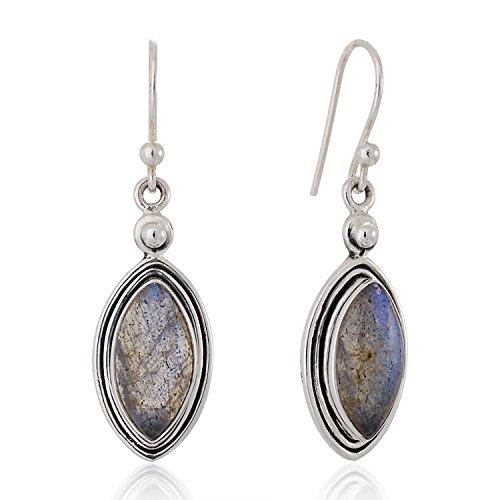 925 Sterling Silver Natural Labradorite Gemstone Marquise Shaped Dangle Hook Earrings 1.5