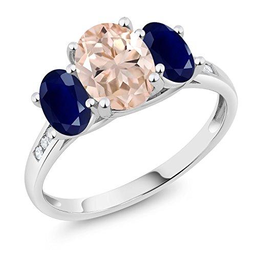 2.10 Ct Peach Morganite Blue Sapphire 10K White Gold 3-Stone Ring - Morganite Sapphire Ring