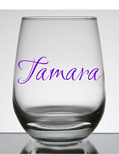 Name Decal (glass not included). Customize the color, name, and size. Perfect for windows, wine glasses, flasks, Yeti cups, bridesmaids gift, water bottle, - Names Glasses Company