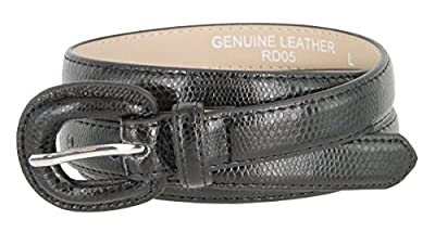 "Women's Skinny Snakeskin Embossed Genuine Leather Dress Belts 3/4"" or 19mm"