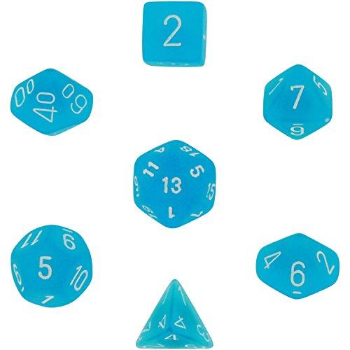 Chessex Dice: Polyhedral 7-Die Frosted Dice Set - Caribbean Blue (Dice For Sale)