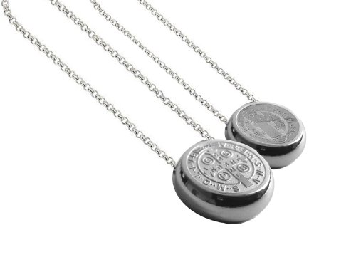 Thick Saint Benedict Medal Necklace - 15 Mm Round San Benito - Saint Benedict Medal - 0.6 Inches Diam
