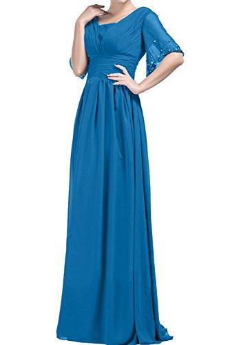 Chiffon Damen Ballkleider A Abendkleider Linie Lang Ivydressing Mit Aermeln Promkleid Blau qRCwdXC