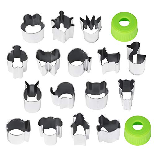 Smarki Vegetable Animal Cartoon Cutters Shapes Set (16 Pcs) Mini Fruit Cookie Cutter Cute Mold Press with Grip