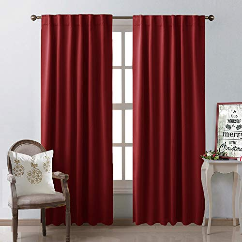 NICETOWN Burgundy Curtains Blackout Draperies Panels, Thermal Insulated Blackout Drapes for Sliding Door (Burgundy Red Color) 52