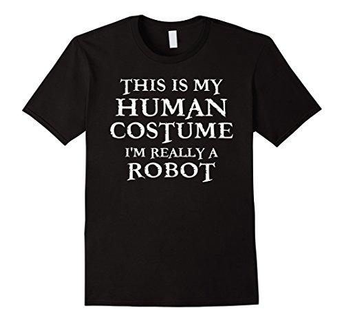 Mens Last Minute Robot Halloween Human Costume T-Shirt XL Black (Minute Man Costume)