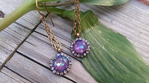 Halo Earrings, Alexandrite Crystal and Opal Earrings, Swarovski Crystal Earrings, Weddings, Prom Earrings, Purple Earrings, Moms, Grad gifts ()