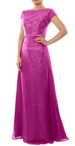 Cap Wedding Fuchsia Dress Elegant Gown Party with Long Bridesmaid MACloth Sleeve Jacket U45AwxqB