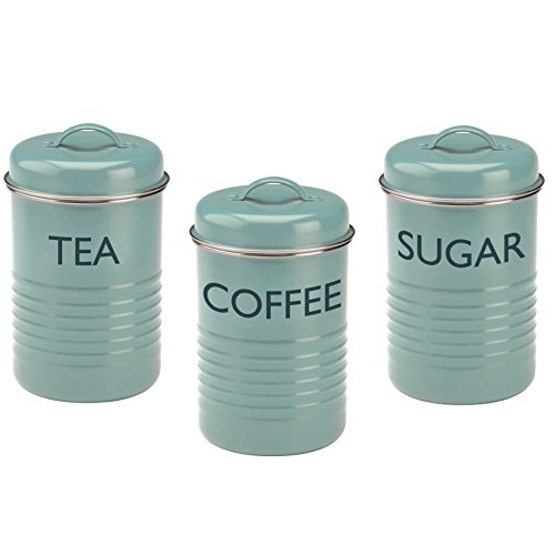 Blue Tea Canister - Typhoon Vintage Kitchen Tea/Coffee/Sugar Canisters, Summer House Blue, Set of 3, 27-Fluid Ounces