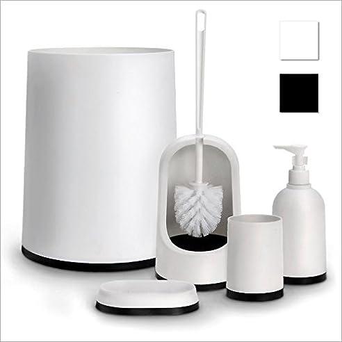Badezimmer Set Badezimmergarnitur 5-teilig Weiß/Schwarz aus ...