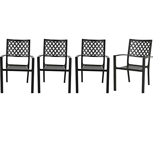 Patio Tree Stacking Outdoor Dining Chairs Steel Slat Seat Arm Chairs (Set of 4)