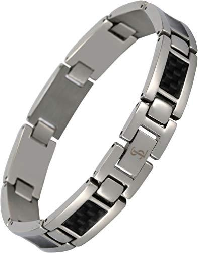 Smarter LifeStyle Elegant Surgical Grade Steel Men's Carbon Fiber Bracelet, Stylish Without Magnets (Silver Bracelet, Black Carbon -