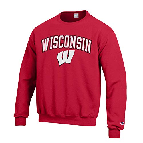 Campus Colors Wisconsin Badgers Adult Arch & Logo Gameday Crewneck Sweatshirt - Red, ()