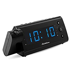 Electrohome USB Charging Alarm Clock Radio with Time Projection, Battery Backup, Auto Time Set, Dual Alarm, 1.2 LED Display for Smartphones & Tablets (EAAC475)
