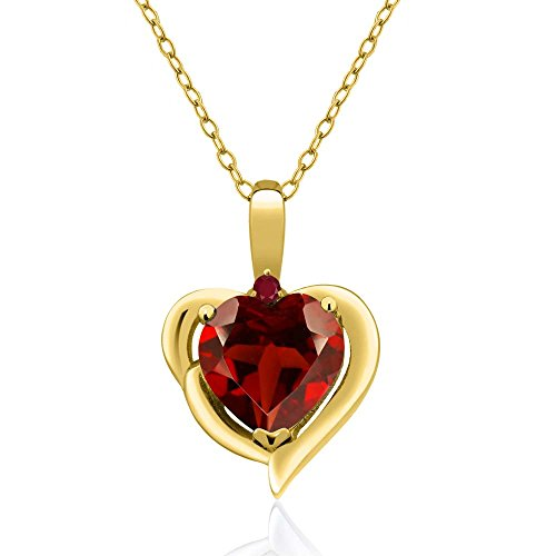 (Gem Stone King 1.82 Ct Heart Shape Red Garnet Red Ruby 18K Yellow Gold Plated Silver Pendant)