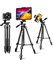 Lusweimi 60-Inch Tripod for ipad iPhone, Camera Tripod for Phone with 2 in 1 Tripod Mount Holder for Cell Phone/Tablet/Webcam/Gopro/All Cameras, Tripod with Carry Bag for Travel/Photography/Video