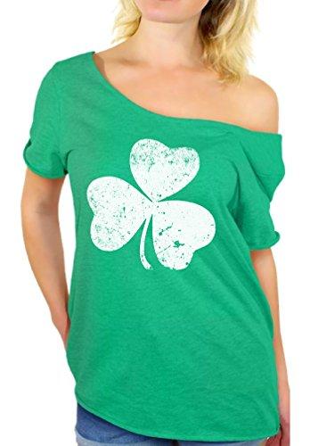 Awkward Styles Women's St. Patricks Day Shamrock Irish Clover Graphic Off Shoulder Tops T Shirt Heatherkelly L