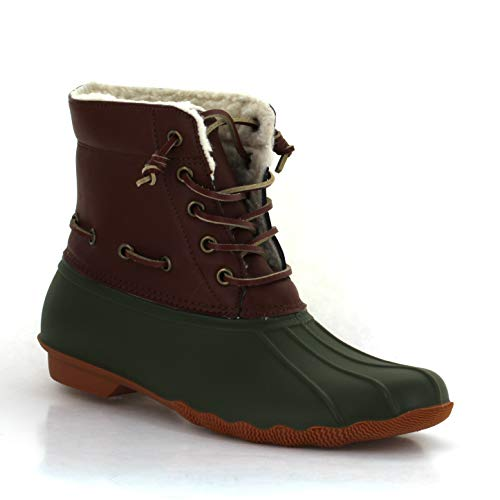 Seven7 Women's Speyside Rain Boot Waterproof Duck Boot Two-Tone Olive 8