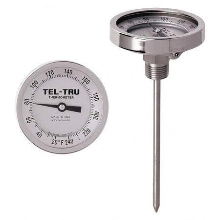 Analog Dial Thermometer, Stem 6'' L by TEL-TRU (Image #1)