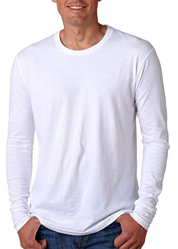 - Next Level Apparel mens Next Level Premium Fitted Long-Sleeve Crew(N3601)-WHITE-L