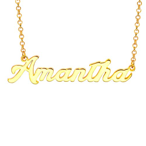 Personalized Name Necklace Pendant Custom Made Necklace with Name 14k Gold Gifts for Women (Amantha)