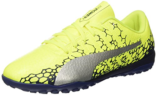 Puma 10445802 Zapatos de Futbol de Sala para Hombre, Safety Yellow/Silver/Blue Depths, 25.5