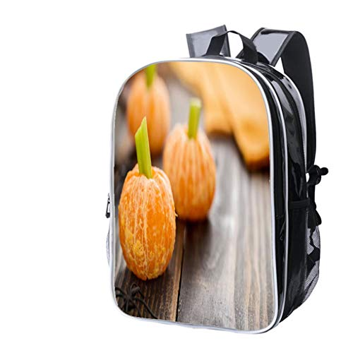 High-end Custom Laptop Backpack-Leisure Travel Backpack Healthy Halloween Food Tangerine Pumpkins Snack Kids Water Resistant-Anti Theft - Durable -Ultralight- Classic-School-Black ()