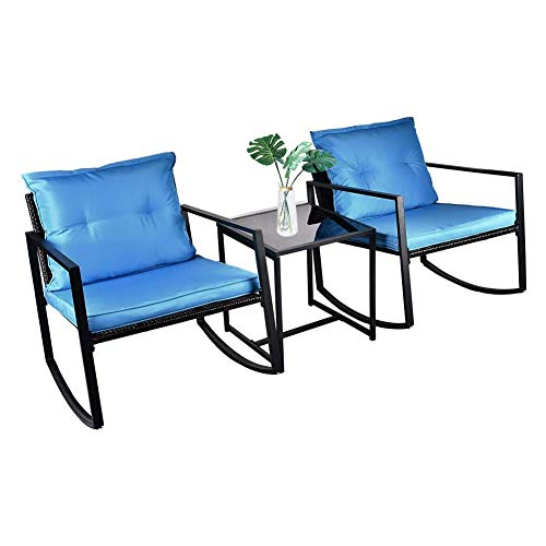 USSerenaY 3 Pieces Patio Rocking Wicker Bistro Set – Outdoor Patio Furniture Sets – Bistro Set Rattan Chair Set with Two Chairs, Coffee Table, Cushions (Brown Rattan Blue Cushion)