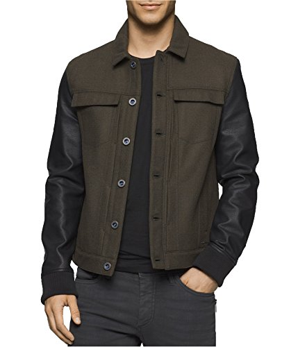 Calvin Klein Jeans Men's Wool Leather Mixed Media Trucker Jacket, Army Green, Small Calvin Klein Wool Jeans