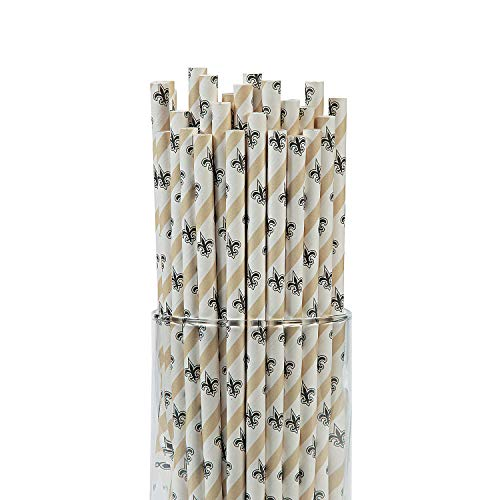 Fun Express - Nfl New Orleans Saints Paper Straws for Party - Party Supplies - Licensed Tableware - Misc Licensed Tableware - Party - 24 Pieces