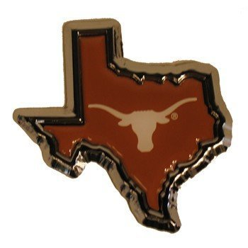University of Texas Longhorns ''Orange State Shape Longhorn'' Color & Chrome Plated Premium Metal Car Truck Motorcycle NCAA College Emblem by Elektroplate