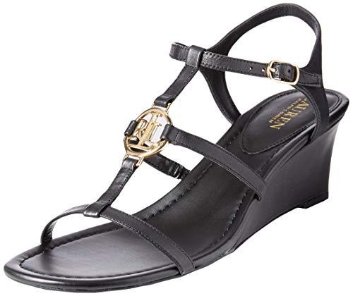 Lauren Ralph Lauren Women's Elina Wedge Sandal Black 8.5 B US