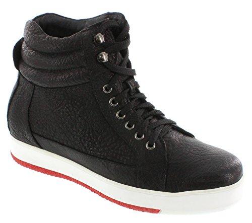calto–g71804–7,6cm Grande Taille–Hauteur Augmenter Chaussures ascenseur (Noir Montantes à Lacets Sneakers)