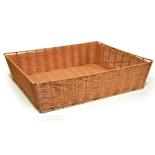 """The Lucky Clover Trading Display Tray, Synthetic Wicker, 19.5"""" L x 4.65"""" H x 16.3"""" W Basket, Honey"""