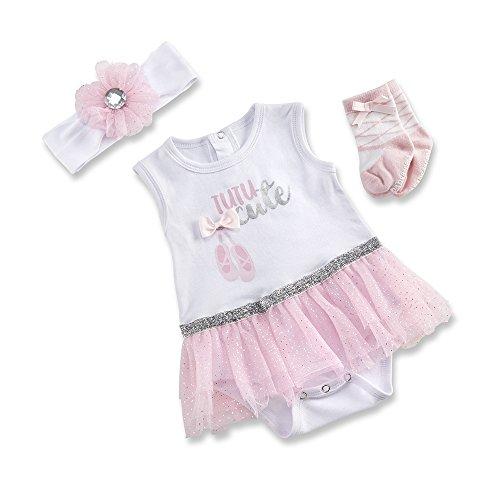Baby Aspen My First Ballerina 3 Piece Tutu Outfit, White/Pink/Silver, 0-6 Months (Newborn Ballerina Outfit)