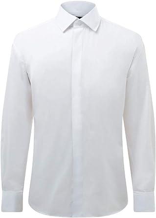 Dobell Camisa de Vestir con Delantera Lisa, Cuello estándar