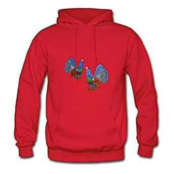 Genevphilli Red X-large Style Personality Capercaillie Sweatshirts For Women