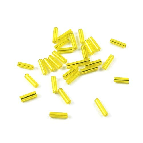 Packet 2200+ Yellow Glass Circa 5-20mm x 2mm Bugle Seed Beads Y12530 (Charming Beads)