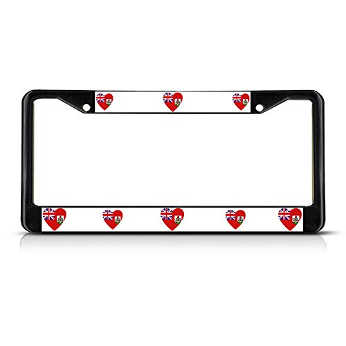 Love Heart Bermuda Country Flag Black Metal License Plate Frame Tag Border (Cowgirl Bling License Plate Frame compare prices)