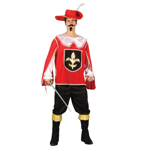 Adults Mens Musketeer Red Costume for Athos Aramis D'Artagnan Cosplay Large Chest Size ()