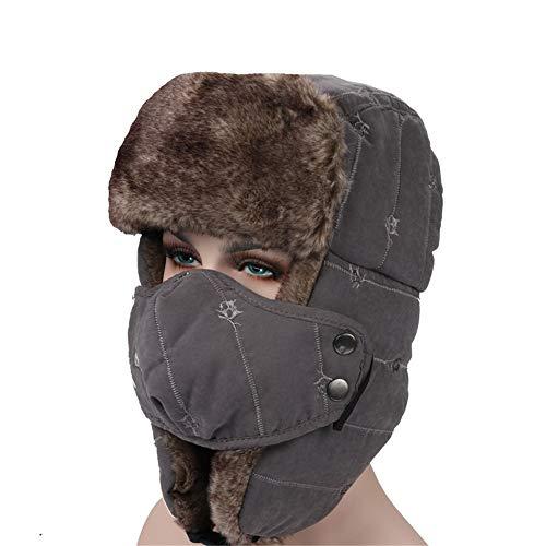 LIULIULIUTrapper Hat Ear Flap Chin Strap Faux Fur Windproof Mask Trooper Hat (Gray) ()